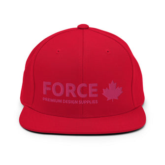 FORCE 3D Puff Embroidery Snapback Hat Red