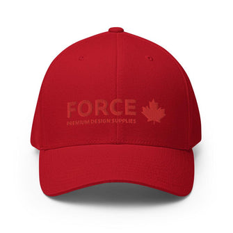 FORCE Structured Twill 3D Puff Embroidery Baseball Cap - Red