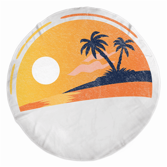 Tropical Sunset - Rounded Beach Towels - Merch by Billyforce