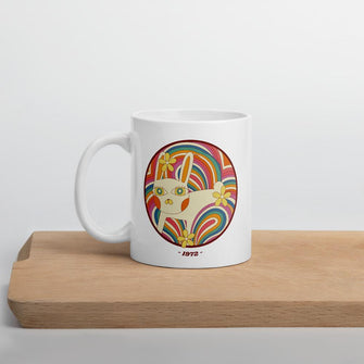 Retro White Kitty Mug - Merch by Billyforce