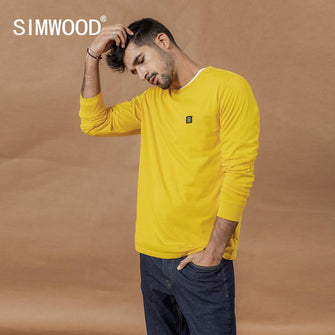 SIMWOOD Men's Long Sleeve 100% cotton T-shirt SI980594