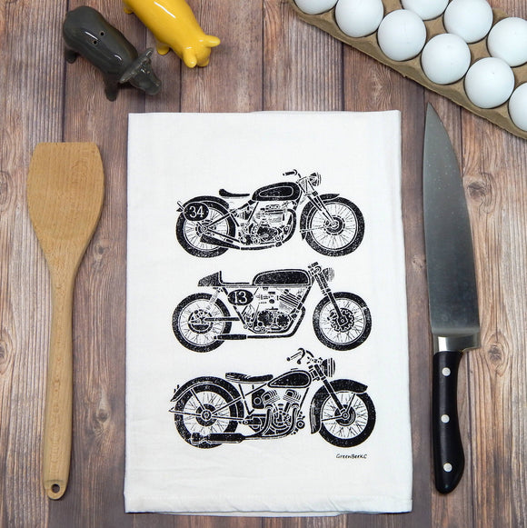 Motorcycle Flour Sack Tea Towel