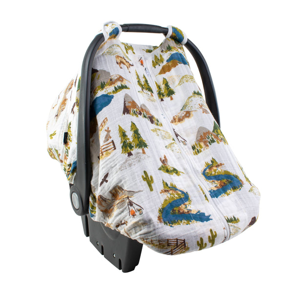 Wyoming Classic Muslin Car Seat Cover