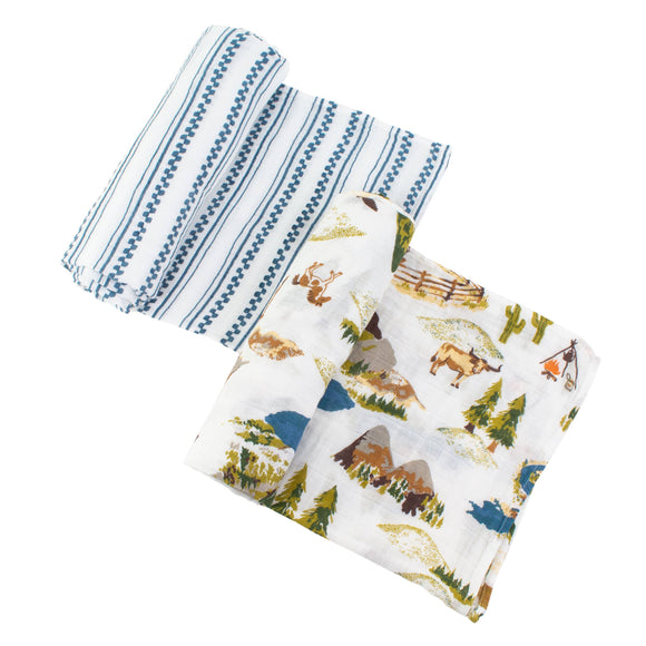 Wyoming+Western Stripe Classic Muslin Swaddle Blanket Set