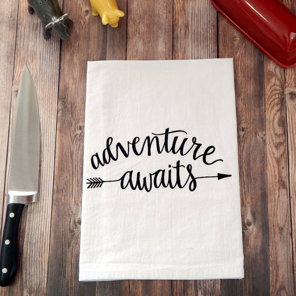 Adventure Awaits Flour Sack Tea Towel