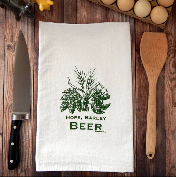 Hops, Barley, Beer Flour Sack Tea Towel
