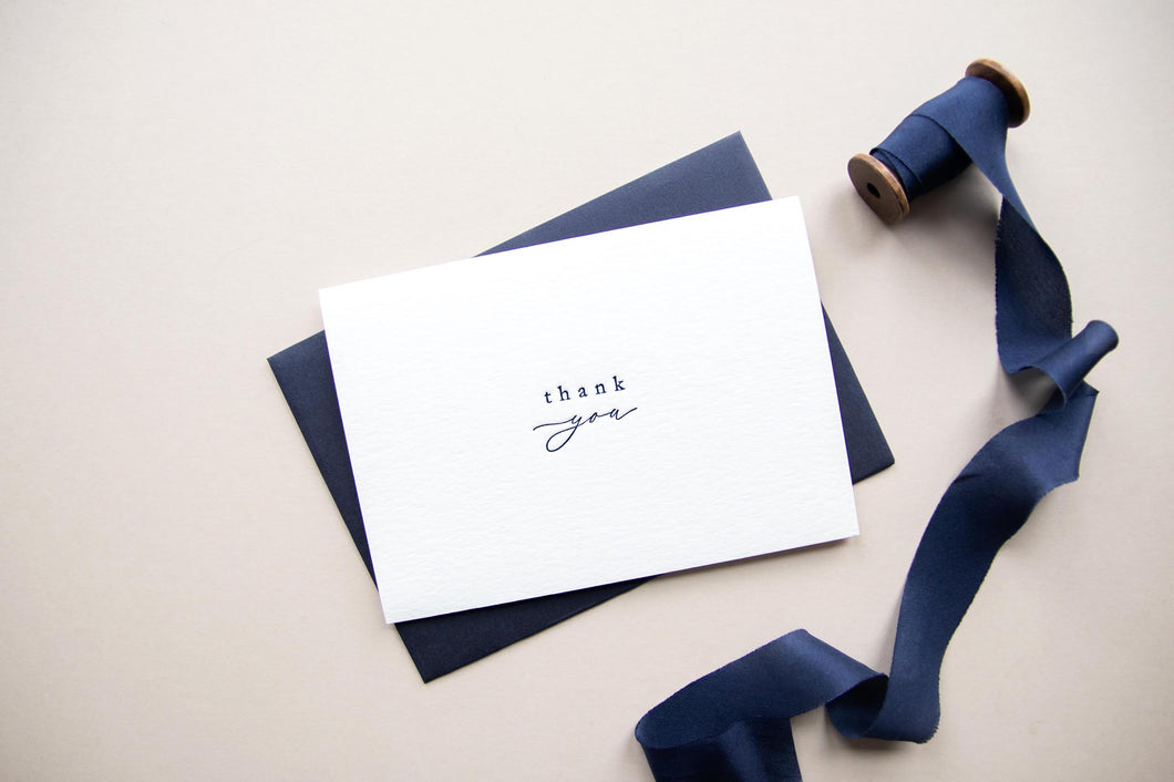 'Thank you', Navy Greeting Card