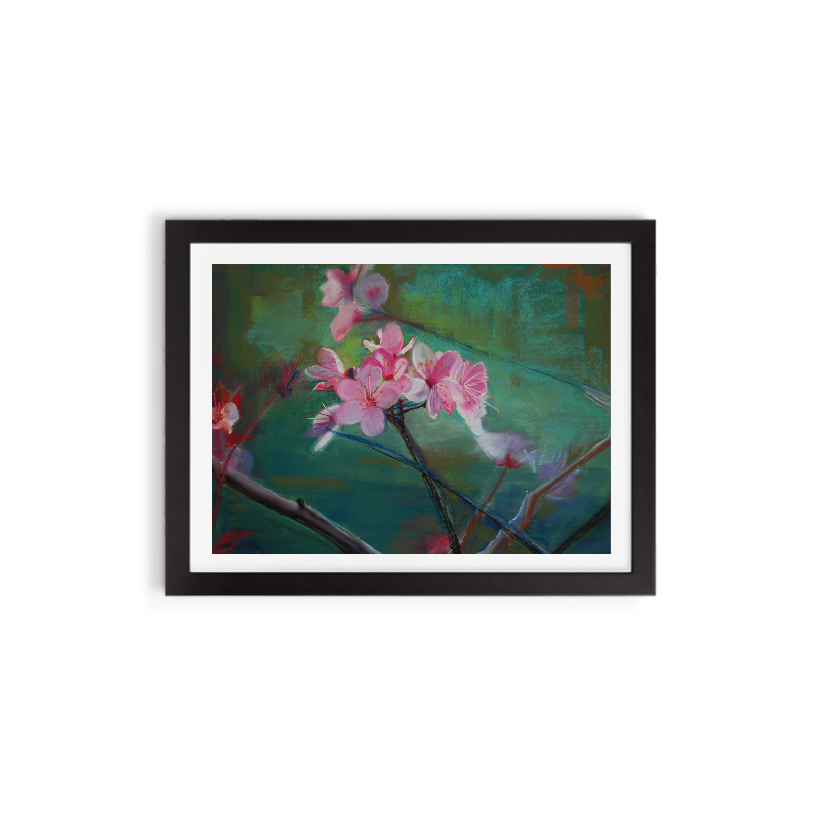 Heidi Hardin - Plum Blossoms/Valentine's Day 2010 #2 - 1:25 pm – One Blossom in Dark Grey Background