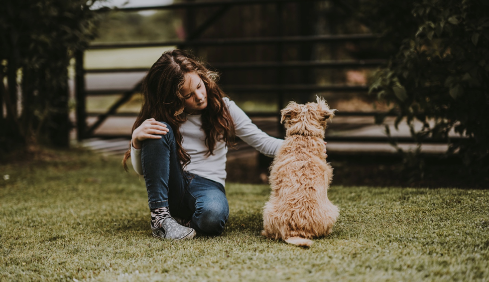 young brown haired girl petting a blonde shaggy dog