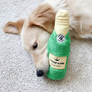 Dog Playing With ZippyPaws Champagne Happy Hour Crusherz Dog Toy