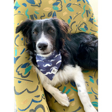Load image into Gallery viewer, Dog wearing navy and white mustache slip on dog bandana