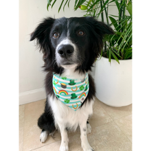 Load image into Gallery viewer, Dog wearing St. Patrick's Day gold rainbow dog bandana