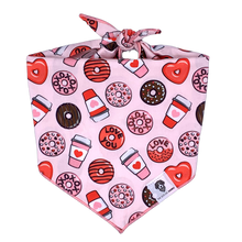 Load image into Gallery viewer, Pink and red donuts and coffee Valentine's Day dog bandana