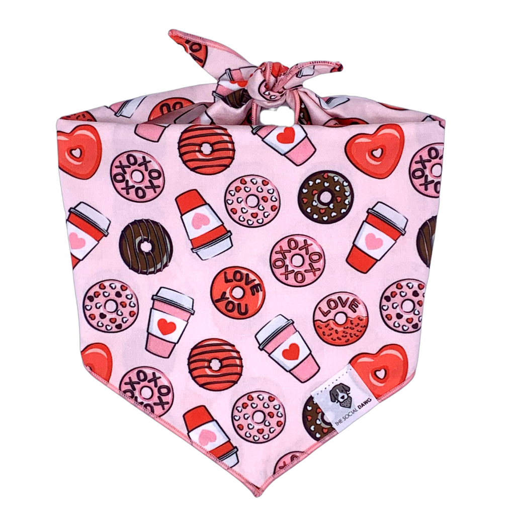 Pink and red donuts and coffee Valentine's Day dog bandana