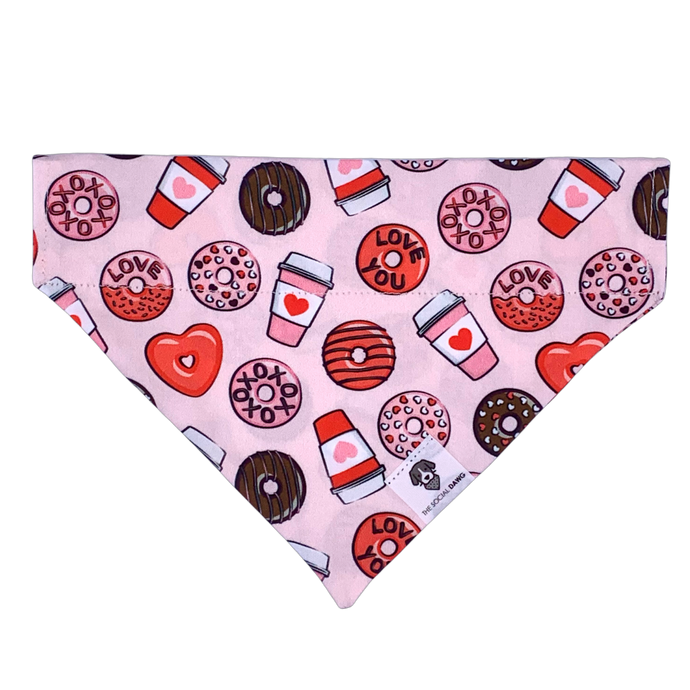 Pink and red donuts and coffee Valentine's Day slip on dog bandana