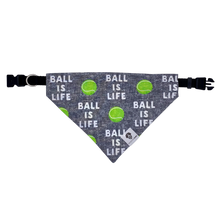 Load image into Gallery viewer, Ball is life tennis gray over the collar dog bandana