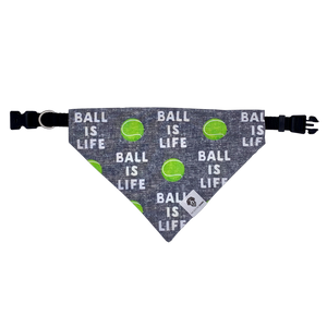 Ball is life tennis gray over the collar dog bandana