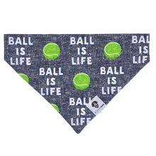 Load image into Gallery viewer, Ball is life tennis gray slip on dog bandana