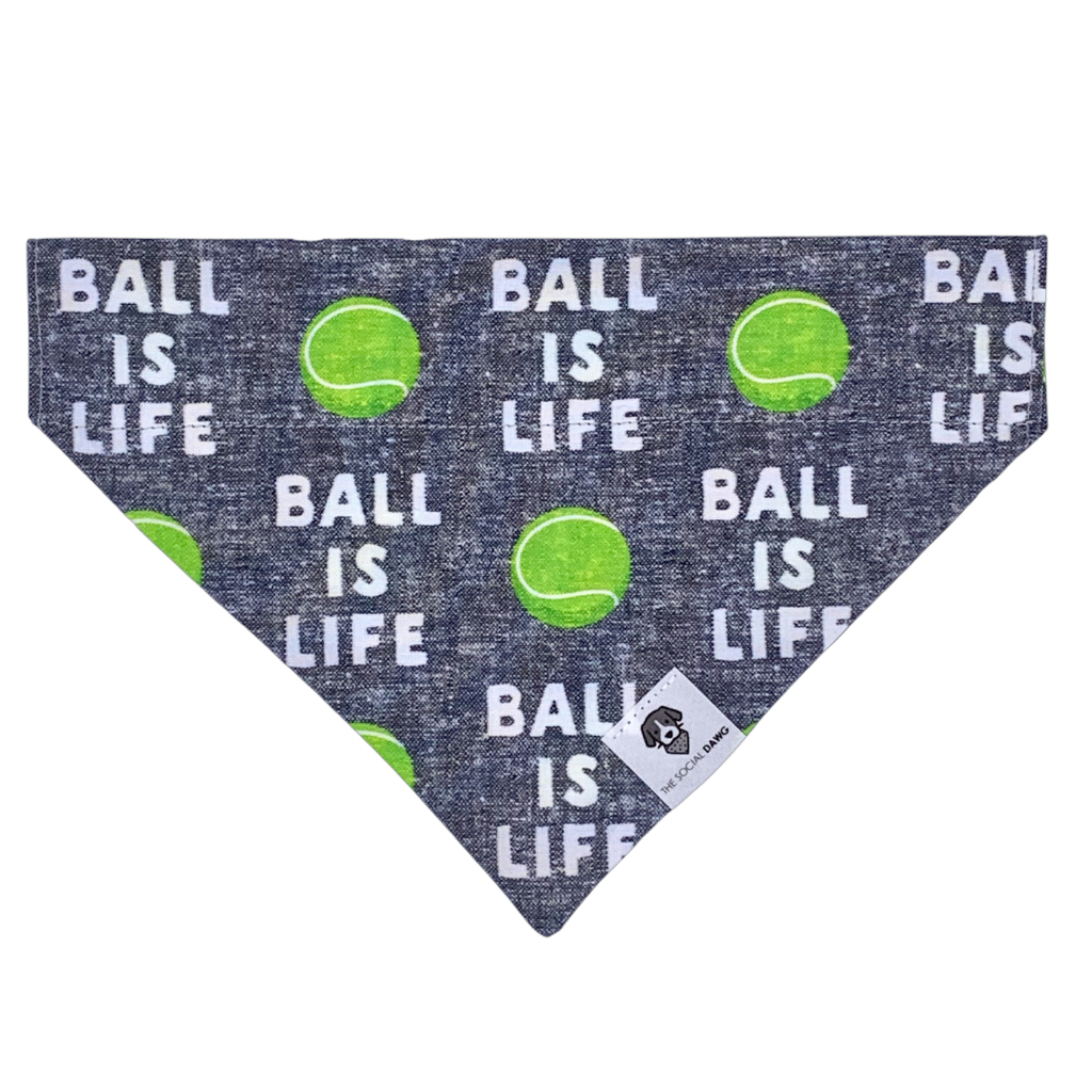 Ball is life tennis gray slip on dog bandana