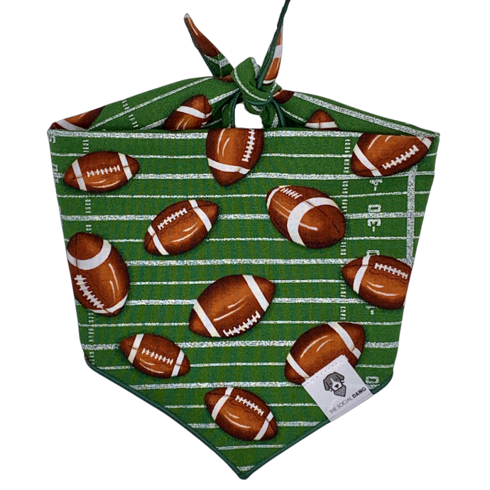 Green football game day tie on dog bandana