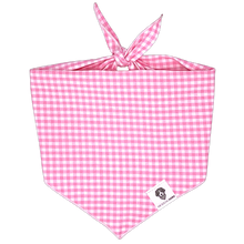 Load image into Gallery viewer, Light Pink Gingham Check Tie-On Dog Bandana