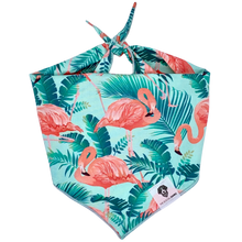 Load image into Gallery viewer, Mint and pink tropical flamingo dog bandana