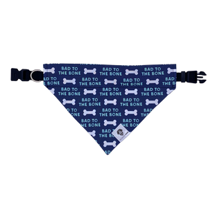 Navy and white bad to the bone over the collar dog bandana