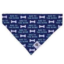 Load image into Gallery viewer, Navy and white bad to the bone slip on dog bandana