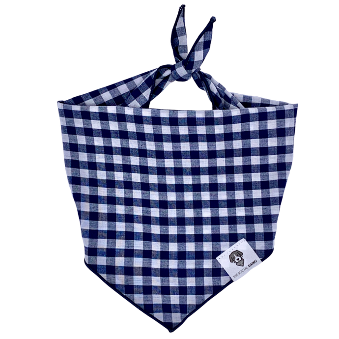 Navy and white gingham check tie-on dog bandana