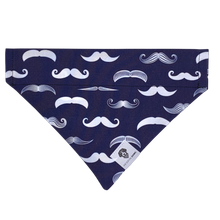Load image into Gallery viewer, Navy and white mustache slip on dog bandana