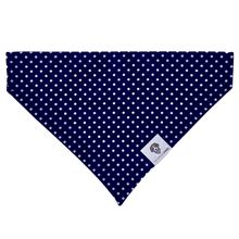 Load image into Gallery viewer, Navy and white preppy polka dot slip on dog bandana