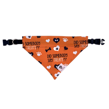 Load image into Gallery viewer, Did somebody say treats orange halloween dog slip on bandana