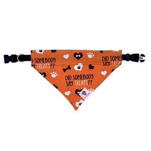 Did somebody say treats orange halloween dog slip on bandana