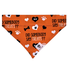 Load image into Gallery viewer, Did somebody say treats orange halloween dog bandana