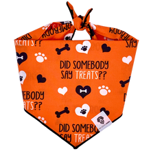 Load image into Gallery viewer, Orange halloween treats paw dog bandana