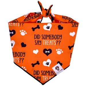 Orange halloween treats paw dog bandana