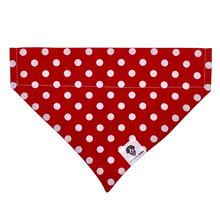 Load image into Gallery viewer, Red and white polka dot slip on dog bandana
