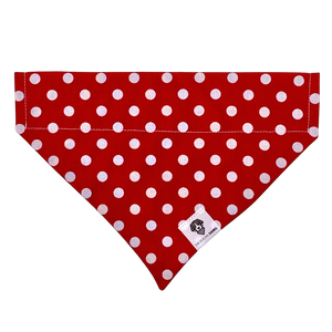 Red and white polka dot slip on dog bandana
