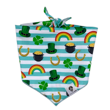 Load image into Gallery viewer, St. Patrick's Day gold rainbow dog bandana