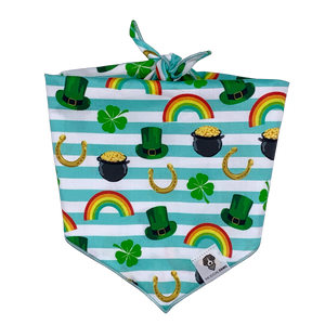 St. Patrick's Day gold rainbow dog bandana