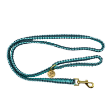 Load image into Gallery viewer, Teal and gray nylon paracord rope dog leash