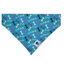 Load image into Gallery viewer, Turquoise blue colorful dog bones slip on dog bandana