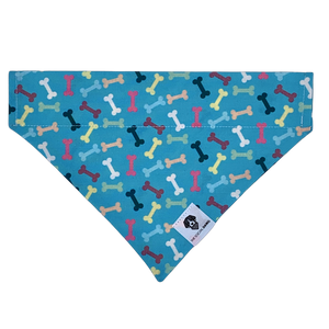 Turquoise blue colorful dog bones slip on dog bandana