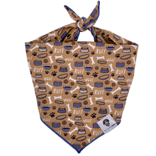 Load image into Gallery viewer, Woof ruff beige dog bone bandana