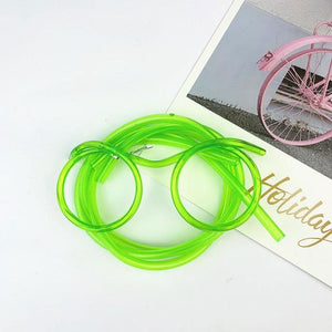 green drinking straw