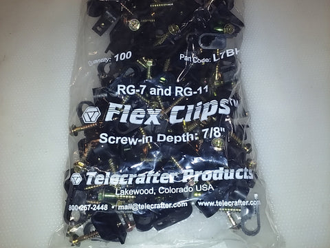Telecrafter Products Flex Clips RG-7 and RG-11 100 Pieces L7BK