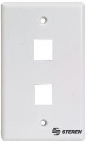 Steren 2 Port Keystone Wall Plate White 2 Cavity Single Gang Flush Mount W/ Mounting screws