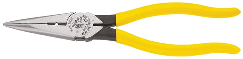 Klein Tools D203-8N Nose Plier, Steel Jaw, 8-7/16 in OAL, Yellow Handle