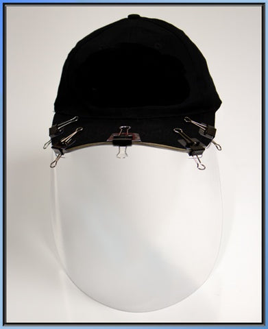 Baseball Cap paper clip on Face-shield