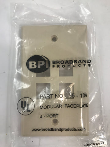 BROADBAND PRODUCTS 4  port Modular Faceplate 55-104